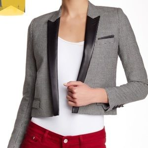 NWT The Kooples sz 4 Cropped Blazer Leather Trim